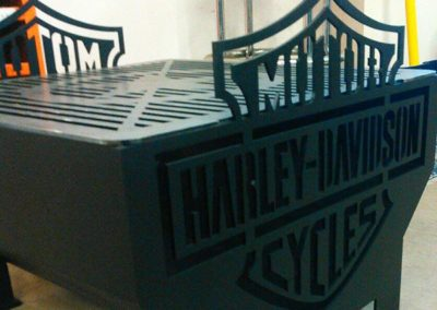 Harley Davidson fire pit with grill with high-heat powder coating.
