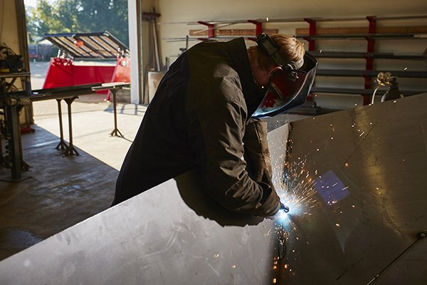 Chad welding up a hopper